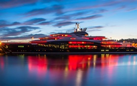 Preview wallpaper Mega yacht, water, night, lights, clouds