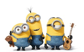 Preview wallpaper Minions cartoon movie, three small yellow people