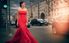 Moscow, fashion model, red dress girl