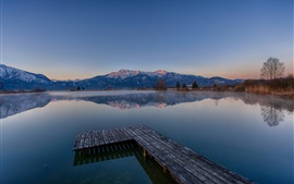 Preview wallpaper Mountains, lake, morning, dawn, pier