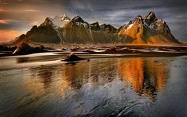 Montanhas, lago, água, sol, inverno