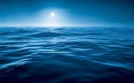 Preview wallpaper Night, water, sea, blue, moon