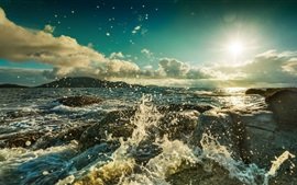 Preview wallpaper Ocean, beach, rocks, waves, sun