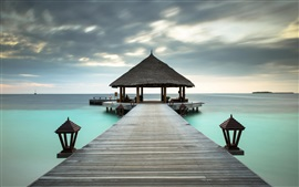 Ocean, resort, beach, pier, Maldives