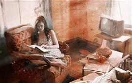 Preview wallpaper Old house, abandoned house, girl read book