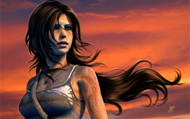 PC jogo, Lara Croft, Tomb Raider, pôr do sol