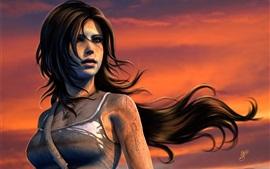 Juego de PC, Lara Croft, Tomb Raider, puesta del sol