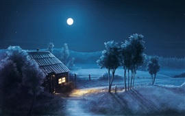 Painting, moon, stars, night, forest, trees, house