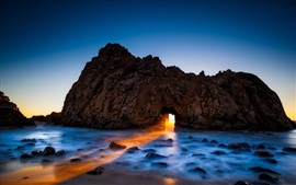 Preview wallpaper Pfeiffer beach, Big Sur, California, USA, rock, arch, ocean
