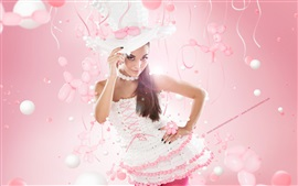 Preview wallpaper Pure girl, hat, pink style