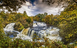 Preview wallpaper Scotland, Clyde Valley Woodlands, autumn, trees, river, waterfalls