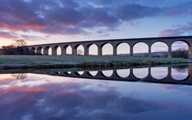 United Kingdom, England, bridge, viaduct, river, dawn, water reflection