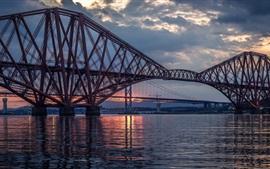 United Kingdom, Scotland, Forth bridge, river, night