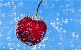 Agua, burbujas, baya roja, cereza