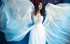 Preview wallpaper White dress girl, wings