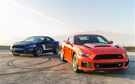 Preview wallpaper 2014 Ford Mustang orange and blue cars