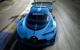 Preview wallpaper 2015 Bugatti Vision Gran Turismo blue supercar speed