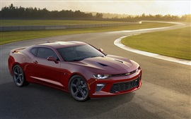 Preview wallpaper 2015 Chevrolet Camaro SS red supercar side view
