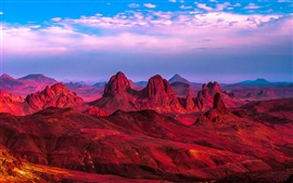 Preview wallpaper Algeria, Africa, red desert, mountains, rocks, clouds