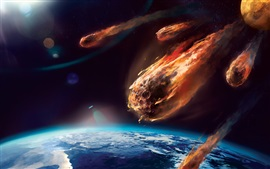 Preview wallpaper Art painting, meteor, planet, atmosphere, friction, fire