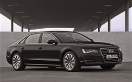 Preview wallpaper Audi A8L black car side view