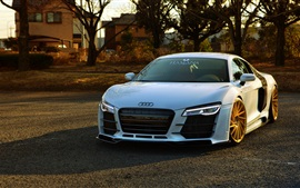 Audi R8 white car front view, sun rays
