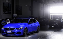 BMW 335i blue car stop