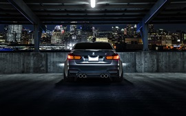 BMW M3 F80 matte black car rear view, night, city