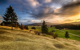 Preview wallpaper Bavaria, mountains, hills, trees, fields, houses, sunrise