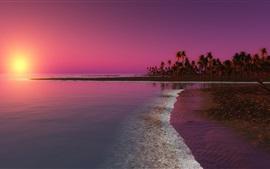 壁紙のプレビュー ビーチ、日没、ヤシの木、海、夕暮れ