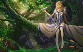 Menina bonita da fantasia, avião de papel, árvore, floresta