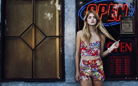 Preview wallpaper Blonde girl, street, storefront