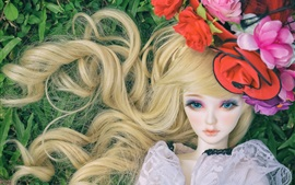 Blonde toy girl, doll, hat, flowers