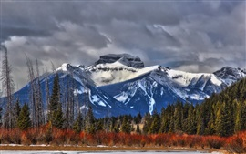 Preview wallpaper Canada, Alberta, mountains, trees, clouds