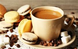 壁紙のプレビュー コーヒー、カップ、アーモンド、クッキー、デザート