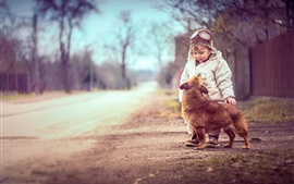 Cute boy with dog