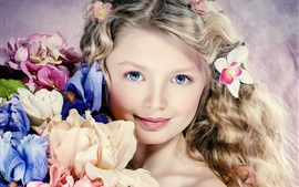 Preview wallpaper Cute girl portrait, curly hair, flowers, blue eyes