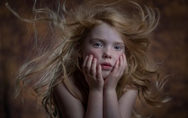 Preview wallpaper Cute little girl, freckles, portrait, hair flying