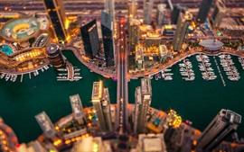 Dubai, edifícios, noite, luzes, marina, barco