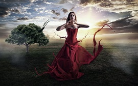 Preview wallpaper Fantasy girl, red dress, creative pictures, trees, sun