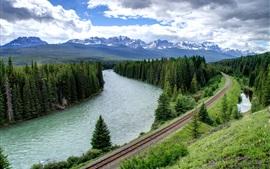 Floresta, árvores, rio, estrada de ferro, montanhas, nuvens