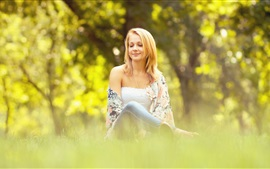 Preview wallpaper Girl sit on the grass, summer, bokeh