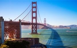 Puente Golden Gate, San Francisco, EE.UU., bahía, sol