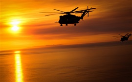 Helicopters, flying, sunset, red sky