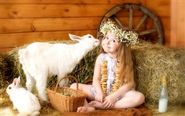 Joy cute girl, wreath, goat, rabbit, basket, eggs