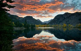 Preview wallpaper Lake, sky, clouds, mountains, trees, water reflection, autumn