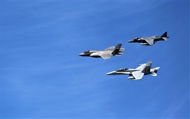 Preview wallpaper Lockheed Martin, fighters flight, blue sky