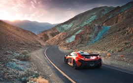 Preview wallpaper McLaren P1 hypercar, volcano, valley