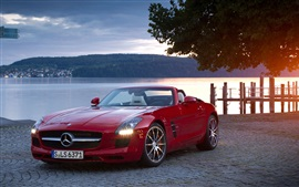 Mercedes-Benz SLS Roadster, красный кабриолет автомобиль