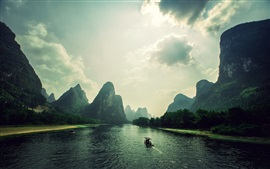 Mountains, clouds, rocks, river, boat, Vietnam landscape